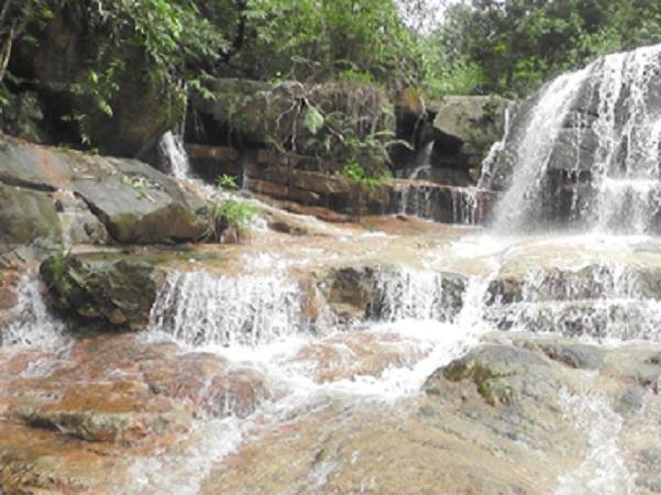 """Cách thác chừng 2km, chúng ta bắt đầu """"hành trình"""" đi bộ, lội suối, băng qua các bụi cây rừng để tìm đường lên thác Hòn Lối"""