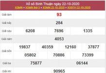 Thống kê XSBTH 29/10/2020 chốt lô bạch thủ Bình Thuận thứ 5